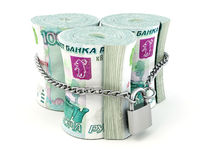 Ruble on lock Royalty Free Stock Photo