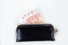 Ruble money in black purse Stock Photos