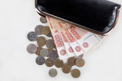Ruble money in black purse Stock Image
