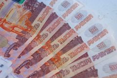 Russian currency. Ruble money, Russian currency, banknote, finance economy, five thousand, background, banknote profit budget stock photography