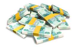 Ruble Notes Scattered Pile Stock Image