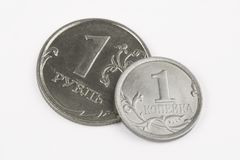 Ruble, penny Royalty Free Stock Photos