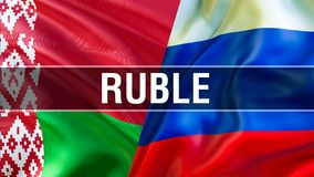 Ruble on Russia and Belarus flags. Waving flag design,3D rendering. Russia Belarus flag picture, wallpaper image. Russian. Belarusian and Moscow Minsk relations stock photos