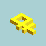 Ruble sign cubes form. Ruble sign cubes form, ruble fell. Isometric russian currency icon, vector illustration Stock Image