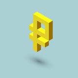 Ruble sign cubes form, isometric russian currency icon, vector illustration.  Stock Photography