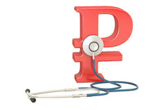 Ruble symbol and stethoscope, financial aid concept. 3D renderin. G isolated on white background Royalty Free Stock Photography