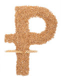 Ruble symbol of wheat Royalty Free Stock Photo