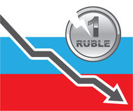 Ruble is in Trouble Stock Photography
