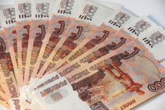 Rubles. Heap of denominations face value of five thousand Royalty Free Stock Images