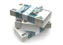 Rubles Bills Packs (with clipping path). 1000 russian  rubles bills packs on stack Royalty Free Stock Images