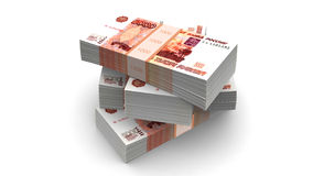 Rubles Bills Packs (with clipping path). Russian  rubles bills packs on stack Royalty Free Stock Images