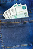 Rubles in blue jeans pocket Stock Photo