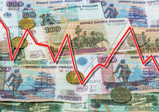 Rubles and descending graph Royalty Free Stock Image