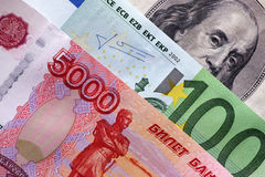 Rubles, euro and dollars Royalty Free Stock Photo