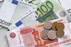 Rubles and Euros Royalty Free Stock Photo