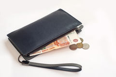 5000 rubles in the purse. And coins Stock Photo