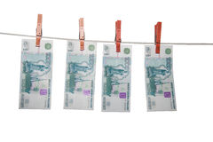 Rubles on a rope isolated stock images