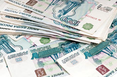 Rubles - russian money background Stock Photos