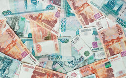 Rubles Russian money banknotes. Background, business, finance Stock Photos