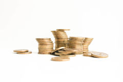 Rubli di mucchio Su una priorità bassa bianca foto Immagine Stock Libera da Diritti
