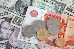 Rubli e dollari Fotografia Stock Libera da Diritti