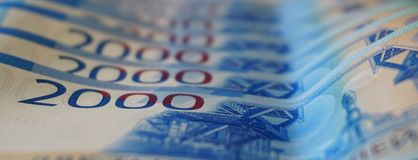 2000 rubli - nuovi soldi della Federazione Russa Fotografia Stock Libera da Diritti