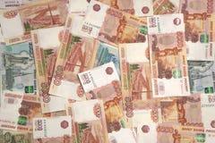 Rubli russe del modello dei contanti dei soldi Immagini Stock Libere da Diritti