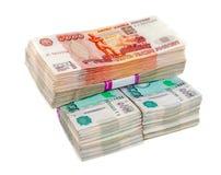Rubli russe di fatture sopra fondo bianco Fotografia Stock