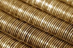 Rubli russe di pila di fondo delle monete di oro del metallo Fotografia Stock