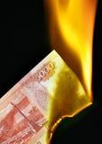 Rubli russe su fuoco Immagine Stock Libera da Diritti