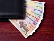 Rublo bielorrusso na carteira preta Imagem de Stock