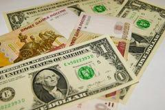 Rublo, dólar Fotografía de archivo
