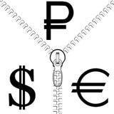 Rublo, dólar e Euro Fotografia de Stock
