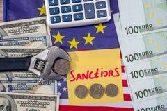 rublo da inflação Sanções do russo euro e dólar contra o rublo Imagens de Stock