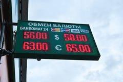 Rublo da troca de moeda contra o euro e os usd Fotografia de Stock