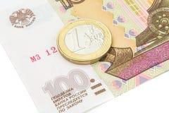 Rublo de russo e euro- taxa de câmbio histórica Fotos de Stock