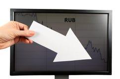 Rublo de russo para baixo Foto de Stock Royalty Free