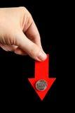 Rublo de russo para baixo Imagens de Stock Royalty Free