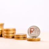 Rublo de russo para baixo Fotos de Stock Royalty Free