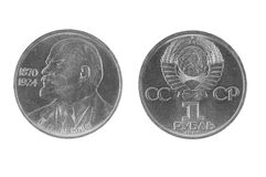 Rublo de russo velho em um grupo branco do fundo Fotografia de Stock Royalty Free