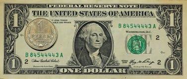 Rublo del dólar Foto de archivo libre de regalías