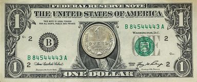 Rublo del dollaro Fotografia Stock Libera da Diritti