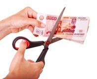 Rublo del ruso del dinero. Derrumbamiento del dinero en circulación. Fotos de archivo libres de regalías
