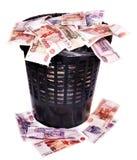 Rublo del ruso del dinero. Derrumbamiento del dinero en circulación. Fotografía de archivo