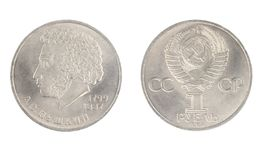 1 rublo desde 1984, mostras Alexander Pushkin 1799-1837 Imagem de Stock