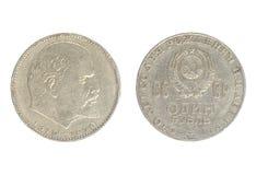 1 rublo a partir de 1970, muestra a demostraciones 100 años desde el nacimiento de Lenin Imagen de archivo libre de regalías