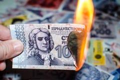 Rublo russa bruciante Fotografia Stock
