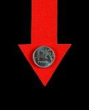 Rublo russa giù Fotografie Stock Libere da Diritti