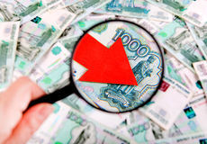 Rublo russa giù Immagini Stock Libere da Diritti