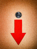 Rublo russa giù Fotografia Stock Libera da Diritti